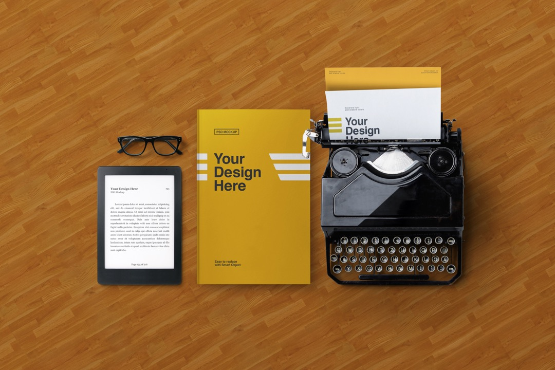 e-book-reader-old-typewriter-and-book-mockup-avelina-studio-mrb-1