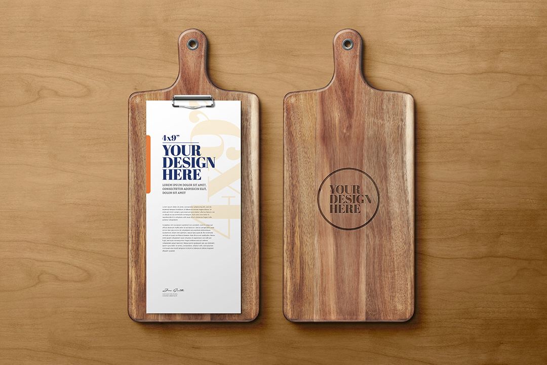 4x9-card-menu-on-wood-cutting-board-mockup-avelina-studio-1