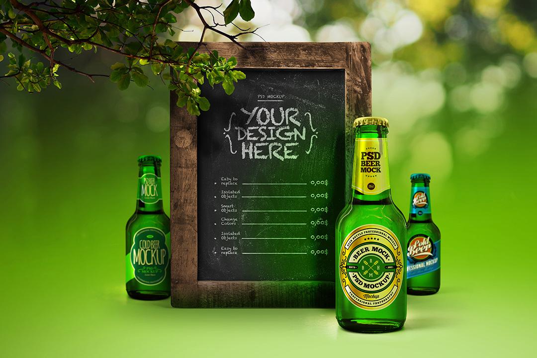 beer-bottle-mockup-green-7-oz-20-cl-poster-rustic-frame-avelina-studio-1